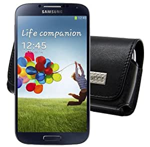 MTT Original Quer-Tasche mit Gürtelclip und Sicherheitschlaufe für Samsung Galaxy S4 i9500 (i9505 LTE Version) schwarz