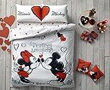 Parure copripiumino, 4 pezzi, 100% cotone Ranforce, motivo: Topolino e Minnie con scritta 'Perfect Match', prodotto originale esclusivo con licenza Disney, idea regalo per San Valentino