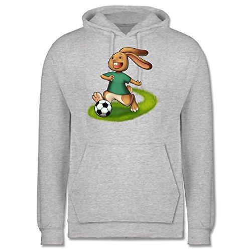 Fußball - Fußball Hase - Männer Premium Kapuzenpullover / Hoodie Grau Meliert
