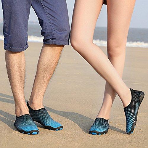 Cool&D Unisex Aquaschuhe Aqua Schuhe Atmungsaktiv Strandschuhe Schwimmschuhe Badeschuhe Wasserschuhe Surfschuhe für Damen Herren Kinder Blau