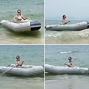 Scallop Inflatable Boat, Inflatable Dinghy Raft -- 4 Individual Air Chambers, Aluminum Floor, inflatable Keel, V-shaped Hull, Outboard Motor Transom, Crash Barrier (UK STOCK)