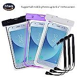 pinlu® 3 Pack IPX8 Wasserdichte Tasche, für Smartphones bis 6 Zoll, für Wiko Pulp Fab 4G, Wiko Pulp 3G, Wiko Pulp 4G, Wiko Rainbow 3G, sandproof Protective Shell -Schwarz+Weiß+Lila