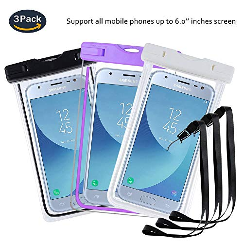 pinlu® 3 Pack IPX8 Wasserdichte Tasche, für Smartphones bis 6 Zoll, für BQ Aquaris U2, BQ Aquaris U2 Lite, BQ Aquaris V, BQ Aquaris V Plus, BQ E4, sandproof Protective Shell -Schwarz+Weiß+Lila