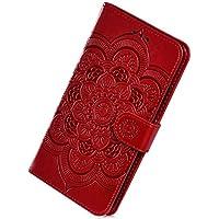 Herbests Mandala Funda compatible con iPhone XS Max Funda de Cuero Funda Cartera Book Style Flip Funda Protectora de Piel de Color Puro Funda con Ranuras para Tarjetas,Rojo