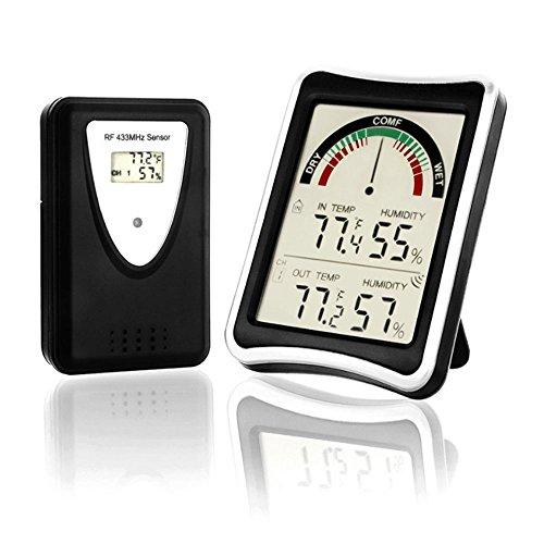 Digitales Thermo-Hygrometer ,ALLESCOOL Wetterstation mit Außensensor Funk / Innen- und Außentemperatur und Feuchtigkeit