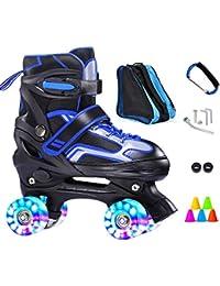 ZCRFY Patines Niños Roller Skates Doble Fila 4 Rueda Zapatos Deslizantes Patinaje Cuádruple Ajustable Flash para Principiantes 3-14 Años De…