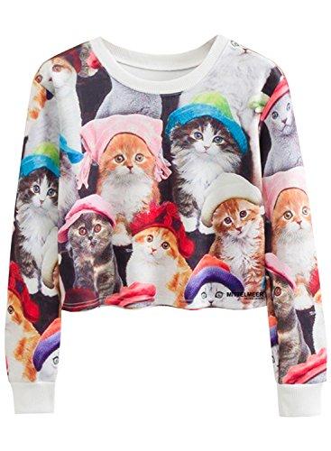 FUTURINO Damen Winter/Frühjahr Frauen Casual Lange Ärmel Katzen Tier New York Cartoon T-Shirt Druck Croptop Tank Top - ärmel Lange T-shirts Cartoon