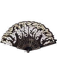 Bonjouree Ventilateur à Main Pliable éventail Vintage Fleur Pour la Fête de Mariage de Danse
