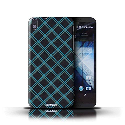 Kobalt® Imprimé Etui / Coque pour HTC Desire 816 / Vert/Bleu conception / Série Motif Entrecroisé Bleu/Noir