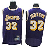 TGSCX Magic Johnson # 32 Los Angeles Lakers All Star Classic Jersey, Tela Transpirable Fresca Vintage, Ropa de Baloncesto Unisex,B,XXL(190CM/95~110Kg)