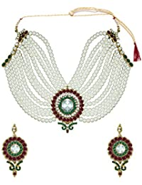 GRAND RAJGHARANA PEARL NECKLACE SET BY ZAVERI PEARLS -ZPFK418