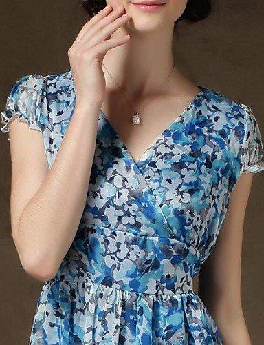 PU&PU Robe Aux femmes Swing Vintage / Soirée / Travail / Décontracté / Plage / Mignon , Imprimé Col en V Midi Mousseline de soie screen color-m
