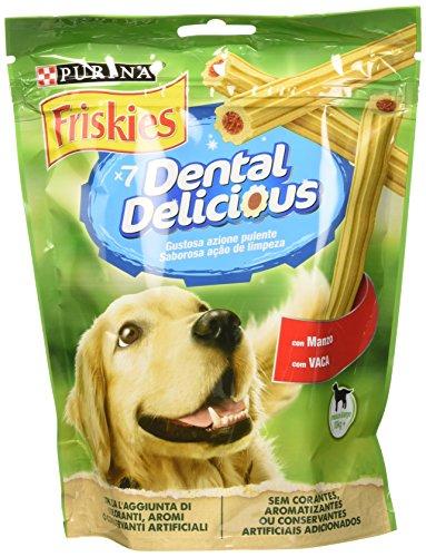 Friskies Purina Dental Delicious Snack Igiene Orale e Dentale al Gusto Manzo, Taglia M/L – 6 Confezioni da 200 g Ciascuna