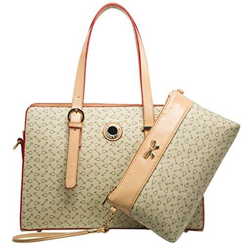 YAAGLE Damen Handtasche Geldbörse Schultertasche Set Europäisch-Stil Handtasche moderne Geldbörse Tote-tasche 2 pcs Beutel beige