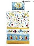 Belsonno® Kinder Bettwäsche 100 x 135 cm + Kissen 40 x 60 cm Mikrofaser Eule   ÖKO-TEX STANDARD 100 mit Reißverschluss   Erhältlich mit verschiedenen Motiven   Kinderbettwäsche-Set, Babybettwäsche, bedruckter Bettbezug für Jungen & Mädchen