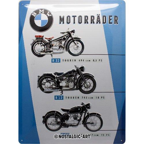 Nostalgic-Art 23248 BMW - Motorräder Chart   Retro Blechschild   Vintage-Schild   Wand-Dekoration   Metall   30x40 cm (Motorrad Biker Schild Metall)