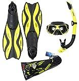 Gul Tarpon Mask/Snorkel and Fin Set - Yellow/Black, X-Large , 10 - 12
