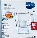 Brita fill & enjoy Wasserfilter Aluna, weiß 2,4l inklusive 3x Maxtra Filterkartuschen (Startpaket) Meter