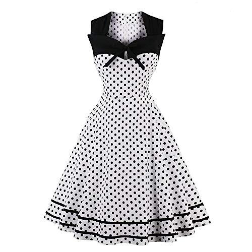 Damen 50s Vintage Rockabilly Kleid Jersey Sommerkleid Abendkleid Getreift Gr.S~4XL Piebo 60er Retro Cocktailkleid Damen Schwingen Petticoat Faltenrock Kleider