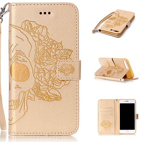 Price comparison product image iphone 7 PLUS Case, iphone 7 PLUS Cover, Cozy Hut PU Leather Wallet Case for iphone 7 Plus Flip Case Bookstyle Cover Skull head Pattern Solid Color Folio Shell PU Cell Phone Holster with Hand Strap Stand Function Credit Card Slots Magnet Closure Anti-Drops Dustproof Protective Shell for iphone 7 Plus (5,5 Inch) - Golden skull