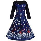VEMOW Herbst Frühling Elegante Damen Abendkleid Cocktailkleid Frauen Vintage Ärmel O-Ausschnitt Abenddruck Partei Lässig Prom Geschäft Swing Dress(X2-Blau 3, EU-40/CN-2XL)