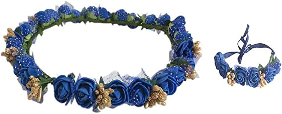 Loops n knots Blue & Golden Floral Tiara/Crown With Wrist Band/Puff Wrap For Girls & Women-Combo Pack