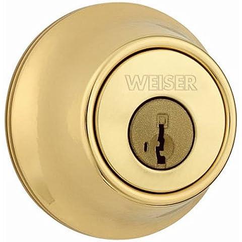 WEISER LOCK GDC9471 3BR KW K3 RLR2 MS Single Cylinder Deadbolt, Bright Brass