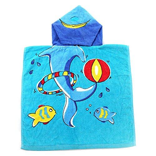 Juleya Kinder Bad Handtuch Baby Kinder Kapuzen Poncho Baumwolle 50 * 100cm (Blue Dolphin)