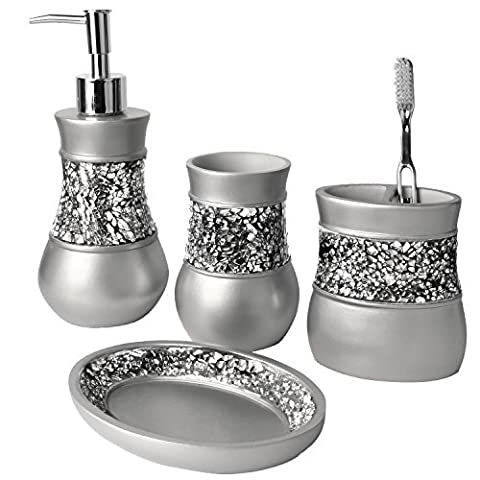 Creative Scents Brushed Nickel Bath Ensemble, 4 Piece Bathroom Accessories Set, Brushed Nickel Collection Bath Set Features Soap Dispenser, Toothbrush Holder, Tumbler, & Soap Dish- Silver Mosaic Glass by Creative Scents