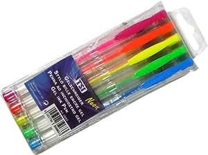 Gelroller Gelschreiber Gelstifte 5er-Set im Etui mit 5 Neon-Farben pink, orange, gelb, grün und blau