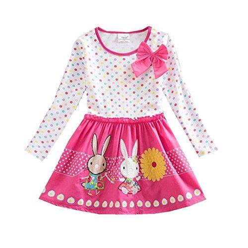 wolle Cartoon Blumen Langarm Kleid LH4829 4T (Süßes 4-jähriges Mädchen)