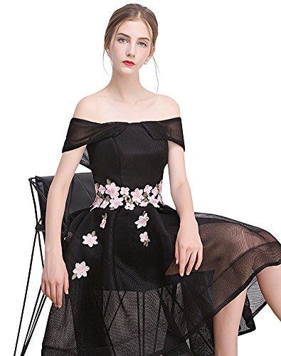 Erosebridal Hohes niedriges Ballkleid Abendkleider Mit Blumen Schwarz