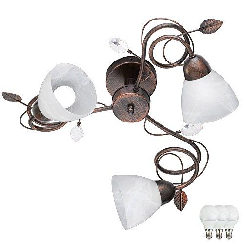 Decken Lampe Ess Zimmer Landhaus Stil Alabaster Glas Leuchte rostfärbig im Set inkl LED Leuchtmittel