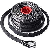 Nowakk 9,5 mm * 28 m Cuerda para cabrestante sintética Cable de Cable 20500LBs Hook + Hawse Fairlead para vehículo Todoterreno Deportivo utilitario Deportivo