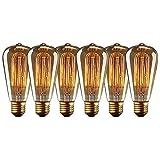 Edison Glühbirne Squirrel Cage Vintage Stil Glühbirne ST64 Dimmable (60W, E27, 220-240V) Warmweiß Edison Lampe Ideal für Haushalt dekorative Beleuchtung - 6 Stück