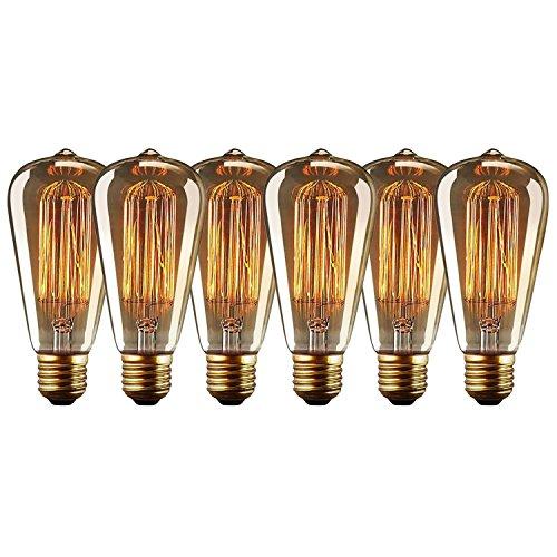 Edison Glühbirne Squirrel Cage Vintage Stil Glühbirne ST64 Dimmable (60W, E27, 220-240V) Warmweiß Edison Lampe Ideal für Haushalt dekorative Beleuchtung - 6 Stück (Deckenleuchte Dekorative)