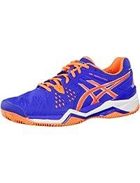 Asics Gel de Resolution 6clay Zapatos de tenis hombre, hombre, Blue/Flash Orange/Silver, 45 UE
