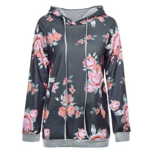 iBaste 2017 Blumenmuster Sweatshirt Beiläufig Be deprived of Lange Ärmel Tops Kapuzepullover große größen Damen