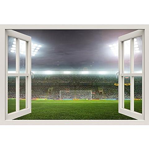 Fensterrahmen Wandbild Fußball Stadion–Große Größe–schälen und Stick Stoff Illusion 3D Wand Aufkleber Foto (Illusion Glas Schiff)