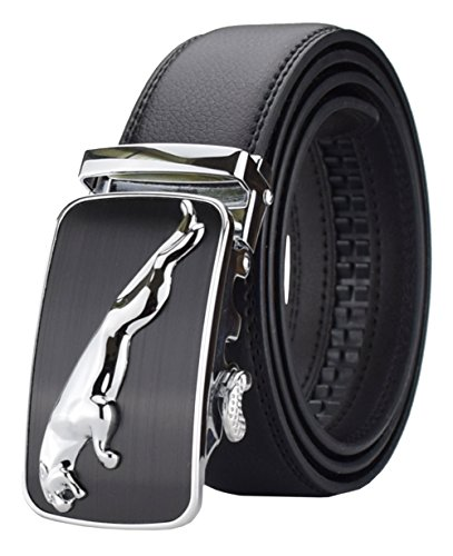 QISHI YUHUA PD Mens Casual Business Leather Belts Ratchet Belts