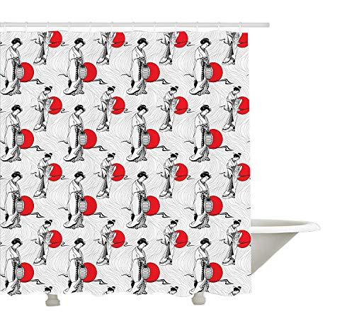 Yeuss-Japan-Duschvorhang, kulturelles Muster mit Geisha-Frau im Kimono-Kostüm auf abstraktem gewellten Hintergrund, Stoff-Badezimmer-Dekor mit Haken, orangeweiß