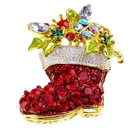 Gold getönten Weihnachten Boot Crystal Brosche pin