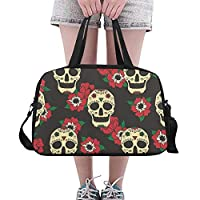 Gothic Fashion Festival Rose Flowers Skull Custom Large Yoga Gym Totes Fitness Handbags Travel Duffel Bags With Shoulder Strap Shoe Pouch For Exercise Sports Luggage For Girls Mens Womens Outdoor