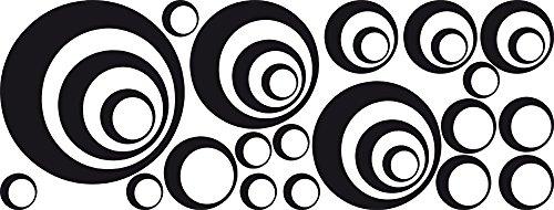 GRAZDesign 750013_30_070 Wandtattoo Kreise | Wandsticker Wohnzimmer Retro | Wandaufkleber als Wand-Dekoration (79x30cm//070 Schwarz)