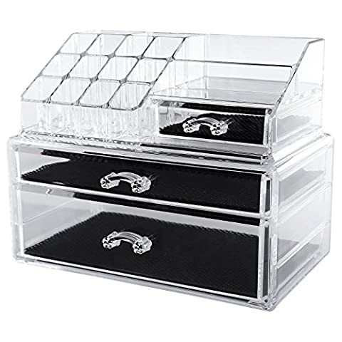 Songmics Acrylic 2 big drawers Makeup Organiser Cosmetic Jewellery Storage