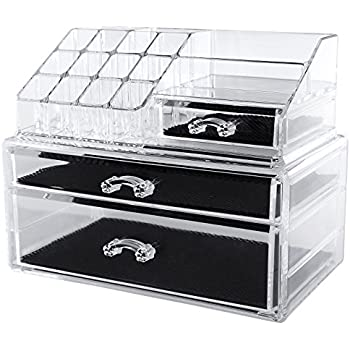 Songmics Acrylic Makeup Organiser Cosmetic Jewellery Storage with 3 clear drawers Display Boxes 2 Pieces Set JKA004