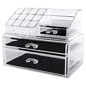 songmics acryl kosmetik aufbewahrung make up organiser aus acryl 2 schubladen f r aufbewahrung. Black Bedroom Furniture Sets. Home Design Ideas