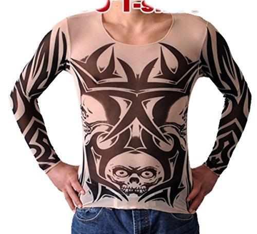 Pinkyee Herren Rot Ton Lotus und Monster Print Tattoo Top Mehrfarbig - CS31