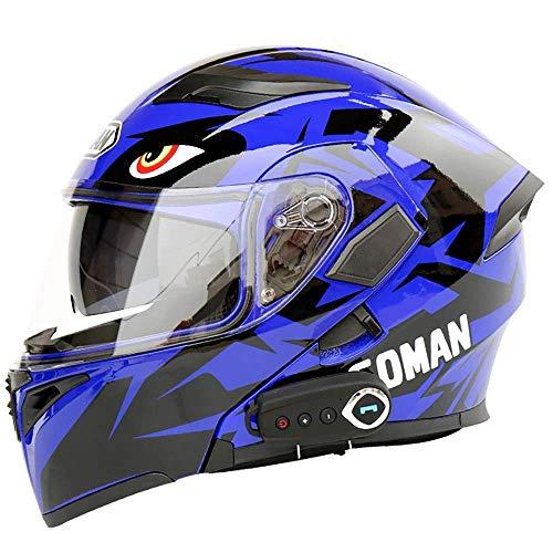 Fire wolf:casco moto casco moto equitazione equipaggiamento protettivo multifunzione smart bluetooth rilevamento casco integrale accessori moto uomo e donna: blu/L (23.22in-23.62in)