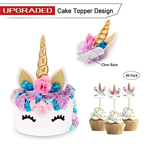 Unicorn cake topper gold 3d con ciglia e unicorn cupcake topper double sided - unicorn party decoration set bomboniera per ragazze, compleanno, matrimonio e baby shower